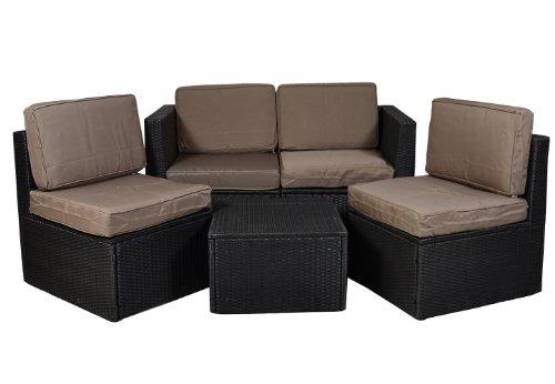 Gartenmöbel 5tlg Set Sitzgruppe Poly Rattan Lounge Garten Garnitur Couch ecru