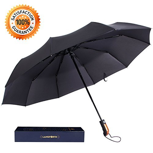 Langforth Wind Resistant 10-Rid Compact Travel Umbrella Auto Open/Close