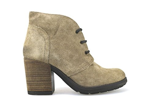 scarpe donna KEYS stivaletti tronchetti beige camoscio AJ148 (39)