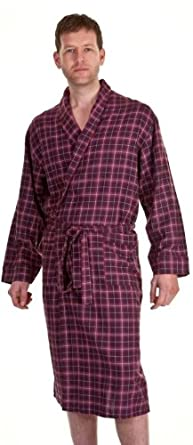 Mens Haigman Brushed Cotton Dressing Gown Red Check S