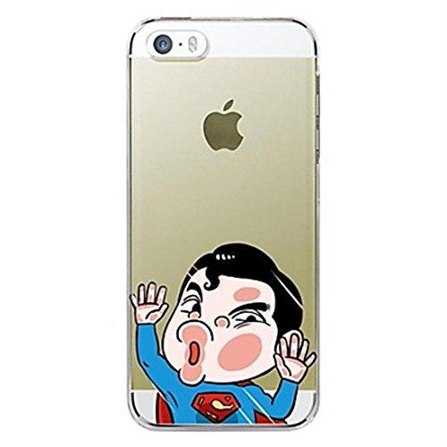NightKid custodia Personaggio dei cartoni animati ultra sottile trasparente hit anime del viso e del Superman bello (iPhone 6 iPhone 6 Plus iPhone 5C iPhone 5/5S iPhone 4/4S )(iPhone 6S Plus/5.5,Viola)