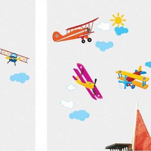 Modern House Airplane Flying removable Vinyl Mural Art Wall Sticker Decal