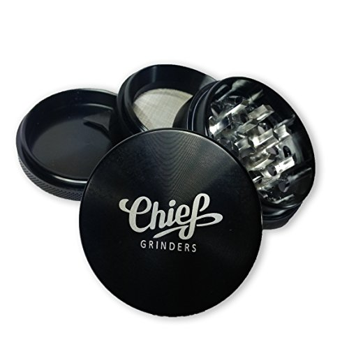 "Herb Grinder By Chief® - Aircraft Aluminum, 2.2"", 4 Parts, 3 Chambers, 28 Teeth, Pollen Catcher (Black)"