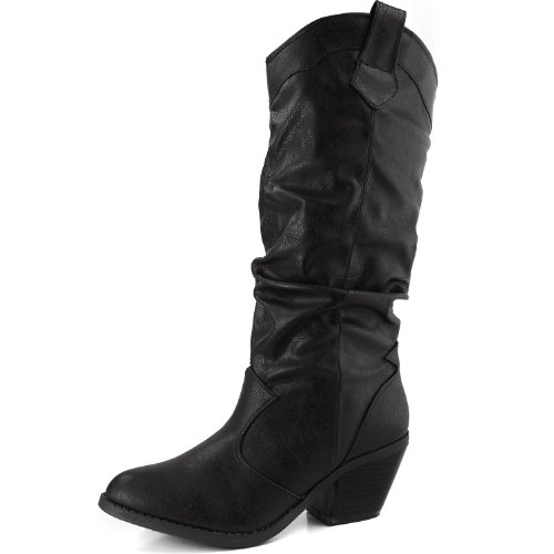 Women's Mid Calf High Vintage Western Cowboy Fashion Boots