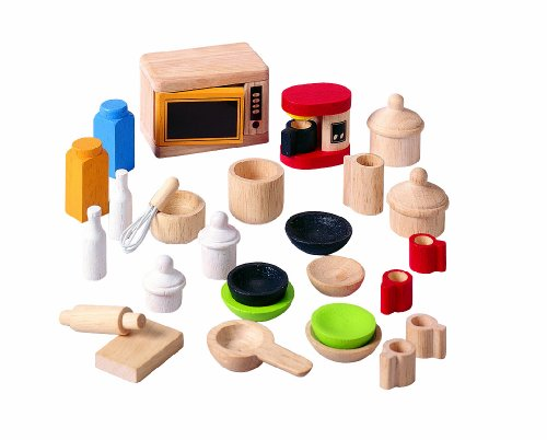 Plan Toys 9406: Kitchen & Tableware Accessories (Wooden Dollhouse Furniture)