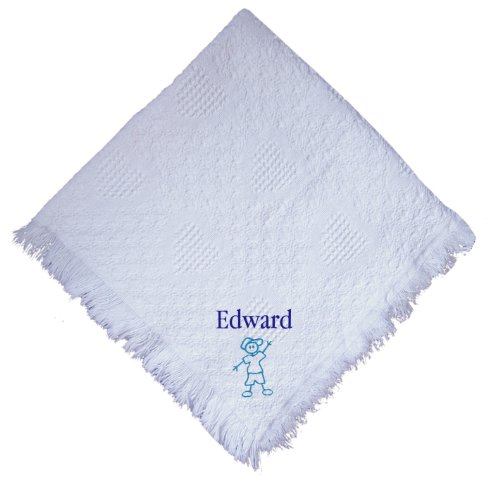 Stick Boy White 100% Cotton Custom Embroidered Personalized Baby Blanket Hot Pink Thread front-1076091