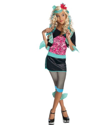Girls Monster High Lagoona Blue Schoolgirl Blue Lagoon Costume And Wig Bundle