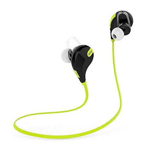 QCY Bluetoothのイヤフォン/QY7イヤステレオ Bluetooth V4.1 マイク内蔵 ワイヤレスイヤホン ランニングフォン ブルー トゥースイヤホン 防水/防汗/高音質/大人気 スポーツヘッドセット iPhoneとIpadなどのスマホに対応 (グリーンQY7)