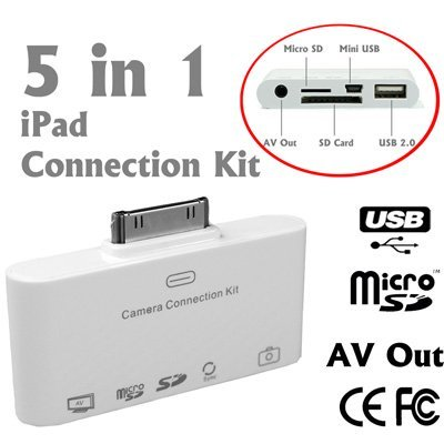 5 in 1 AV out Camera Connection Kit Card Reader for USB Keyboard, SD, MicroSD, Mini USB and Sync Pictures/ Photos and Video to itunes For Apple iPad, iPad 2