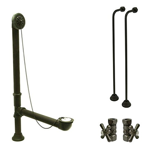 Bronze Clawfoot Tub Hardware Kit Drain, Single Offset Supply lines, Cross Stops (Clawfoot Tub Supply Lines compare prices)