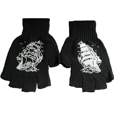 New Punk Rockabilly Tattoo Pirate Ship Black Fingerless Work Gloves Goth