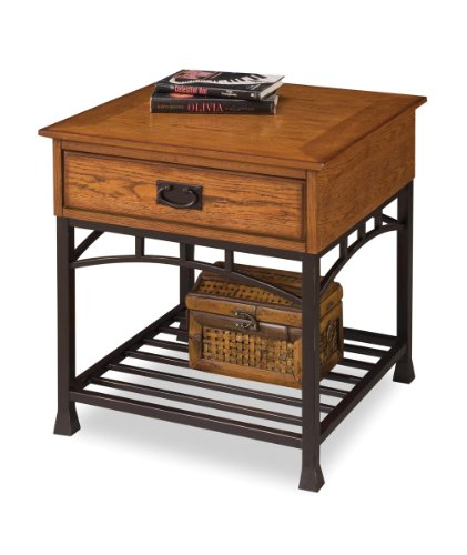 Modern Craftsman Distressed Oak End Table