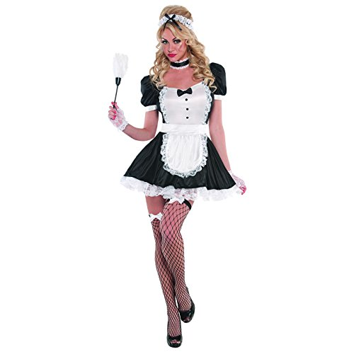 Adult Women's Sexy Sassy French Maid Fancy Dress Party Costume + Stockings