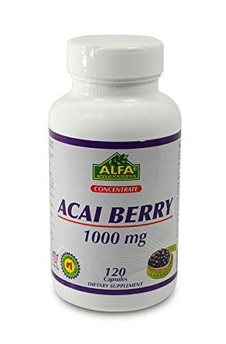 Alfa Vitamins Acai Berry 1000 Mg Nutrition Supplement, 120 Count