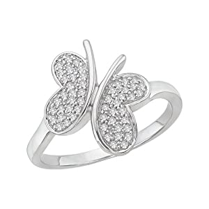 Sterling Silver, Diamond Butterfly Ring (1/5 cttw)
