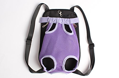 Mkono Fashion Portable Soft Pet Legs Head Out Travel Front Backpack Carrier Bag Case For Pet Dog Puppy Cat,Purple