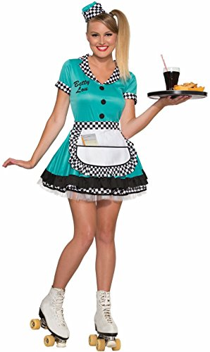 Flirtin' 50's Betty Lou Costume Adult Lady Dress Rollerblade Waitress Teal Gn