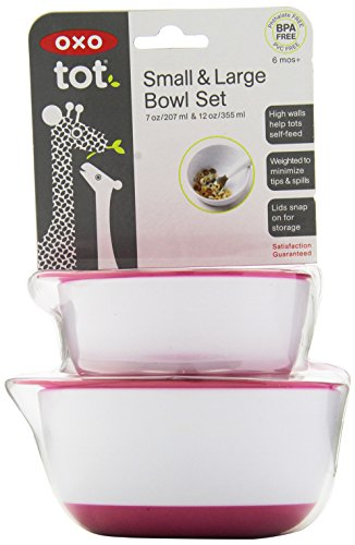 OXO Tot Small & Large Bowl Set with Snap On Lids - Pink