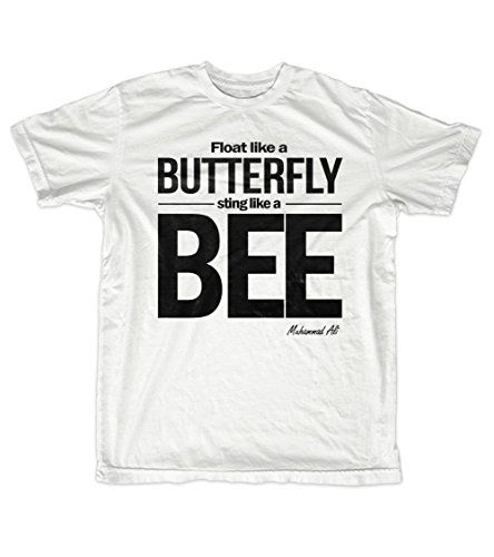 Fly Like A Butterfly Sting Like A Bee Muhammad Ali Citazione Uomo T-Shirt Maglietta Bianca Medium