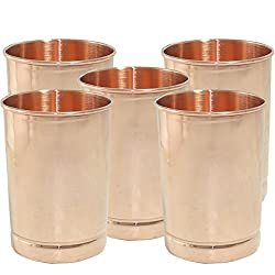 Dakshcraft Copper Glass Drinkware Asian Kitchen Accessory,Set of 5