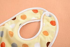 clear 赤ちゃん スタイ コットンベルベット+防水シート 2層仕立て 5枚セット (ドット柄)