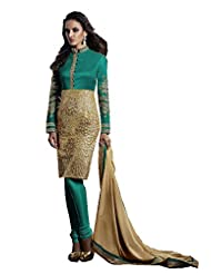 Stylish Fashion Designer Sky Embroidered Heavy Indo Western Salwar Suit