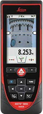 Leica Disto D810 Touchscreen Laser Distance Meter with 4.0 Bluetooth, 650-Feet Range and 1mm Accuracy, with Red Glasses for enhanced Red laser beam visibility from Leica Geosystems