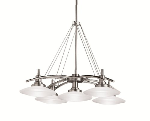 B0002PSMWQ Kichler Lighting 2055NI Structures 5-Light Halogen Chandelier, Brushed Nickel with Satin-Etched Glass