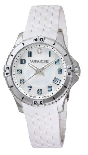 Wenger Squadron Lady 01.0121.104 - Reloj analógico de cuarzo para mujer, correa de silicona color blanco (agujas luminiscentes)