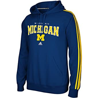 Michigan Wolverines Adidas Three Stripe Pullover Hoody by adidas