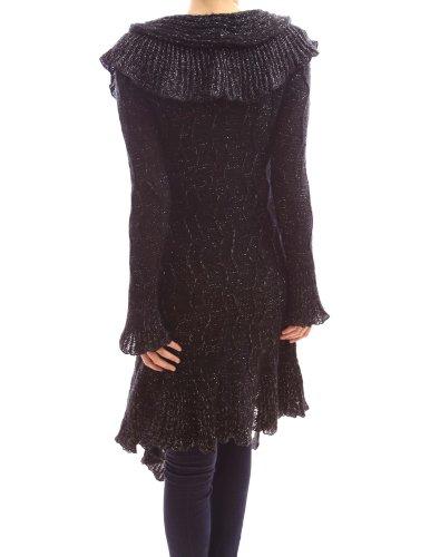 PattyBoutik Elegant Ruffle Flounce Collar Asym Long Jumper Cardigan (Black M)
