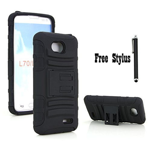 Anti-shock & Bump Dual Layer Kickstand Case for LG Optimus L70 VS450 (Metro PCS) / LG Realm LS620 (Boost Mobile) / LG Optimus Exceed 2 W7 (Verizon) / LG Pulse LS620Y / LG Ultimate 2 L41C (All Black) (The Little Penguin Inc compare prices)