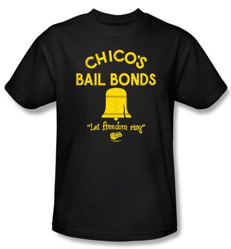 The Bad News Bears T-shirts - Chico's Bail Bonds Baseball Black Adult Tee Shirt