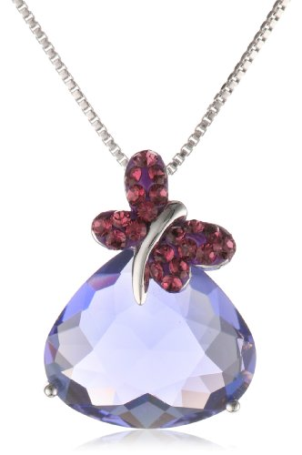 Carnevale Sterling Silver Butterfly with Swarovski Elements Pendant Necklace, 18