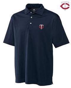 Minnesota Twins Mens DryTec Medina Tonal Stripe Polo Shirt Navy Blue by Cutter & Buck