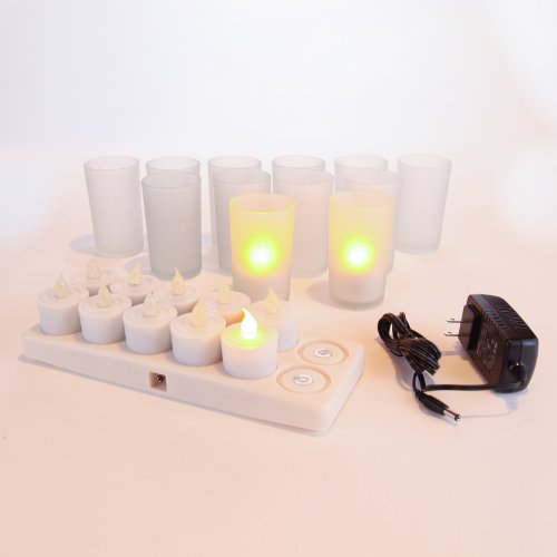 Restaurant Quality Rechargeable Led Tea Light Set Of 12 - Amber - With Bonus Frosted Glass Holders