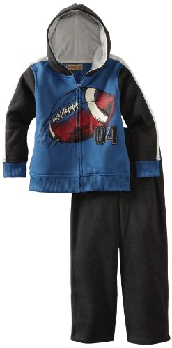 Kids Headquarters Boys 2-7 Hooded Jacket With Pant, Blue/Gray, 4