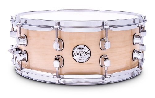 Mapex Mpx 14 Inch X 5.5 Inch All Birch Snare Drum In Natural Lacquer Finish With Chrome Hardware