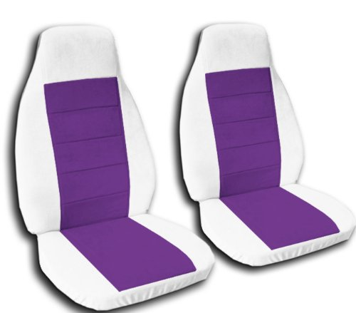 Seat Covers & Accessories: 2 White And Purple Car Seat