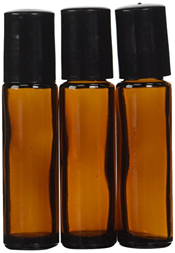 Aromatherapy - Amber Glass Bottle with Roll On Applicator and Black Cap - 10 ml - Package of 6 (Roller Package compare prices)