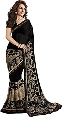 Jaanvi Fashion Women's Georgette Printed Saree (Black )