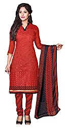 Dress Material Chanderi Red Embroidered + Lace Unstitched
