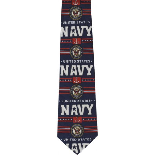 CTC-Gifts-Mens-United-States-Navy-Neck-Tie-anchors-and-Emblems-Blue