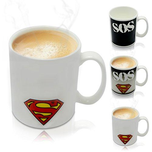 """VENKON - Tazza Termosensibile """"SOS Superman"""" con Effetto Termico Animato - 300 ml - per Caffè, Tè, cacao, Latte, Acqua, ecc"""