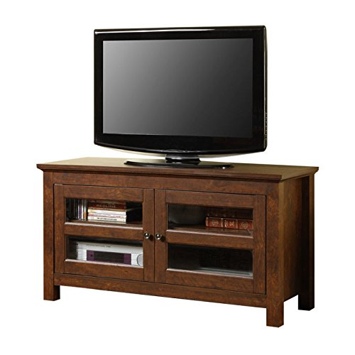 "Walker Edison Wood 44"" TV Stand with Glass Door Cabinets"