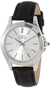 "Invicta Womens 15148 ""Angel"" Stainless Steel and Black Leather Watch"