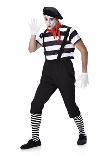 [Men's Mime Artist - Halloween Costume (L)] (Scary Mime)