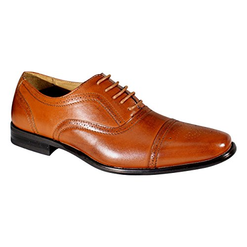 Brown Wing Tip Leather Oxford Dress