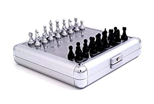 Executive Gift Travel 3 and 1 Chess, Checker and Backgammon Game Set in Silver Pearl Finish Case