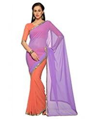 Designersareez Women Faux Georgette Embroidered Pink Saree With Unstitched Blouse(1538)
